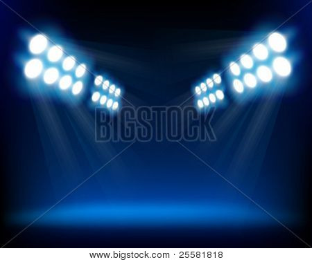Blue spotlights. Vector illustration.
