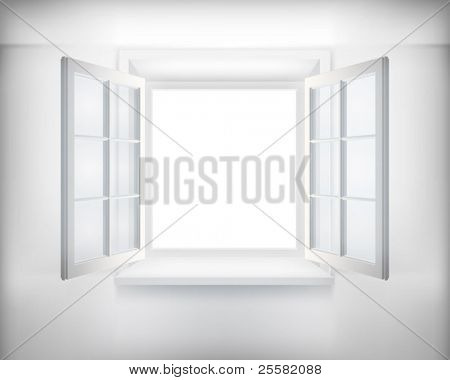 Opened window. Vector illustration.