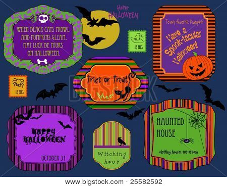 Set of spooky Halloween labels, invitations and stamps