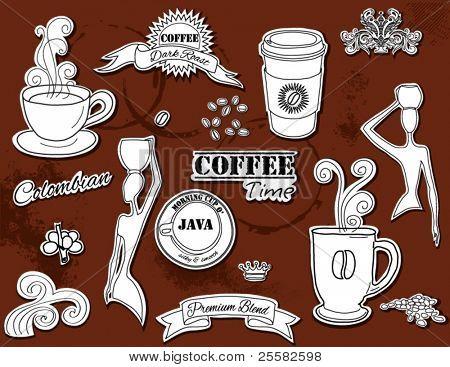 Elementos de design Doodle - café