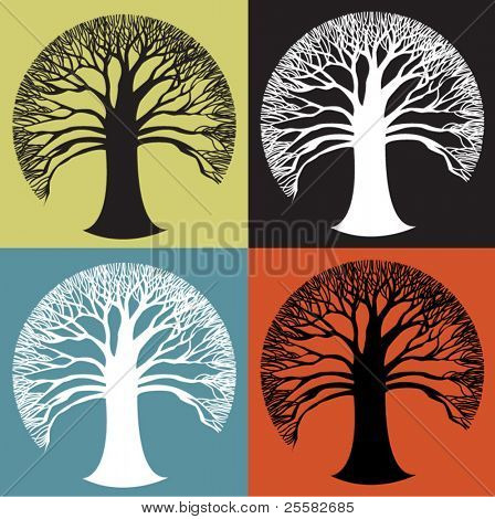 Wide round tree icon in stark black and white