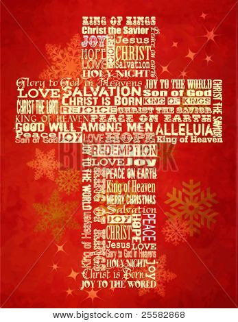 Christmas Cross, bright Christmas background with Christmas greetings in the shape of the Cross