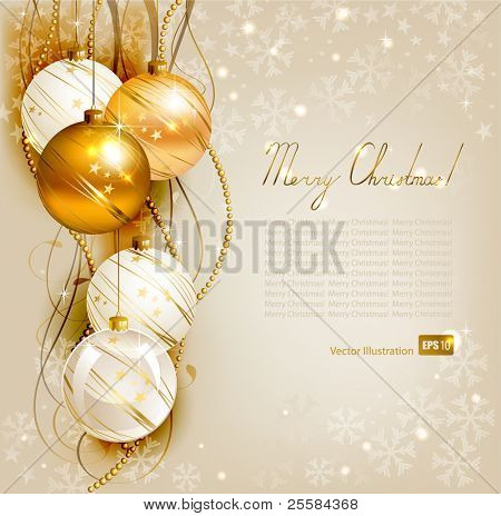 elegant  Christmas background with gold and white evening balls