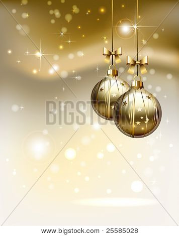 glimmered Christmas background with two  evening balls