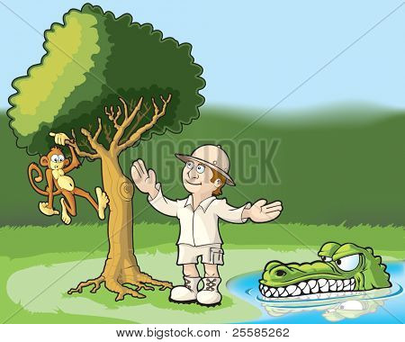 Explorer admiring a monkey in a tree and unaware of the danger he is in.