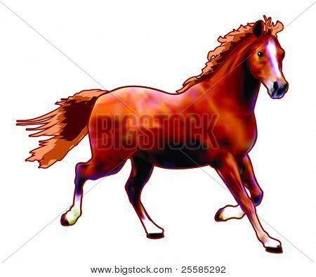 Vector horse created with gradient mesh technique.
