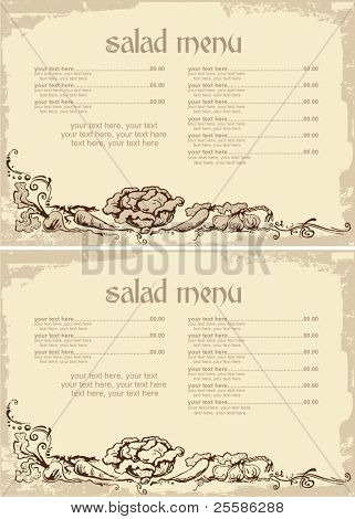 menu design with vegetables and place for text