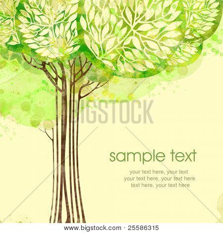 Diseño de tarjeta acuarela con árbol y texto de pintado