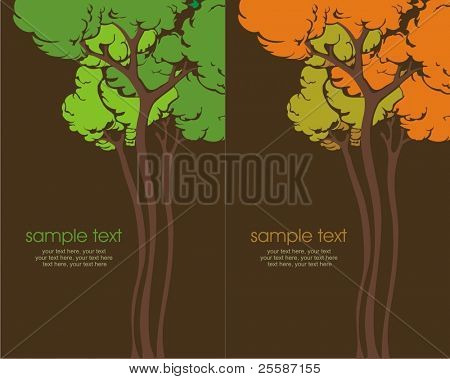 Two variants of cards with stylized trees and text