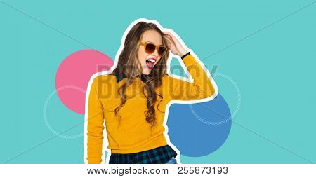 poster of people, style and fashion concept - magazine style collage of happy teenage girl in casual clothes a