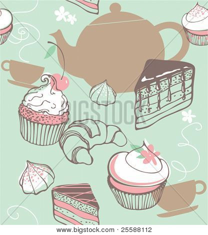 Sweets and tea. seamless background