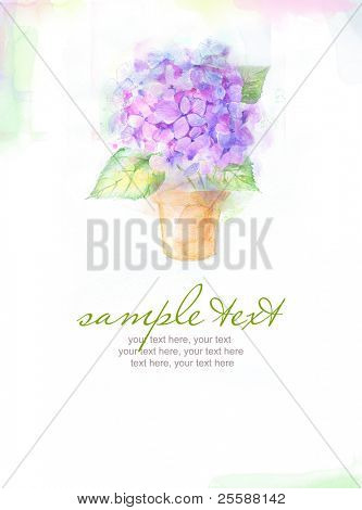card with painted watercolor hydrangea flower