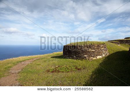 Acient Stone Houses Of Easter Island