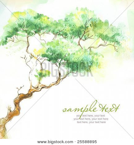 Painted watercolor card with trees and text