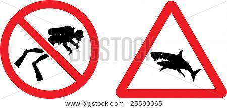 "Forbidding and Prevention Vector Signs ""No Diving"",  ""Shark"""