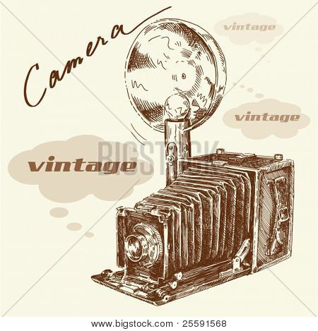 hand drawn old camera