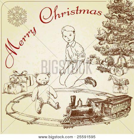 Hand drawn vintage saludos de Navidad