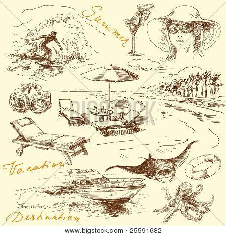 summer vacation - original hand drawn collection