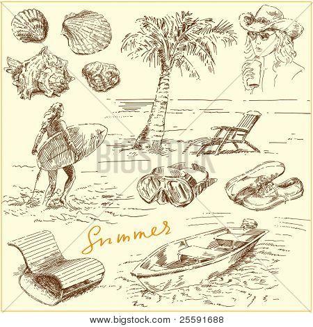 summer set - original hand drawn illustration