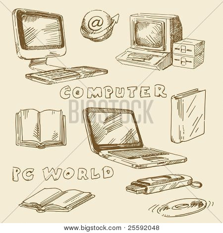 hand drawn set - computers