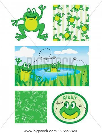 Fun frogs. Use to print onto fabric bags to hold bath toys for the kids or simply use for scrap booking.