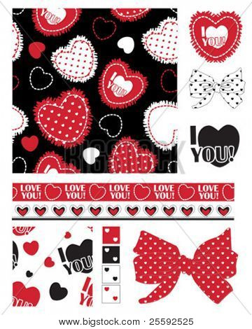 Design Elements for scrap-booking, greeting cards, wallpaper, textiles, stencils all patterns are repeat.