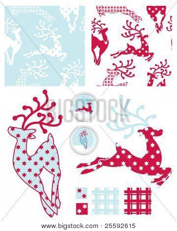 Erstellen Sie Weihnachts-Geschenkpapier mit diesen eleganten Rentier wiederholen Muster und Farbfelder.