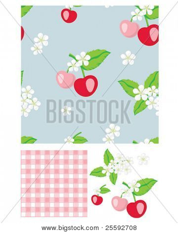 Pretty cherry patterns. Use to print onto fabric for home baking or as backgrounds or other décor projects.