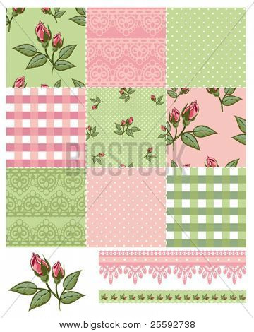 Patchwork Floral Rose Pattern and trims. Use to print onto fabric or paper craft projects.