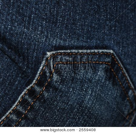 Close-Up Of Back Pocket On Bluejeans, Showing Detail Of Stitching