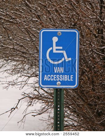 Street Signs Blue Handicapped Van Access