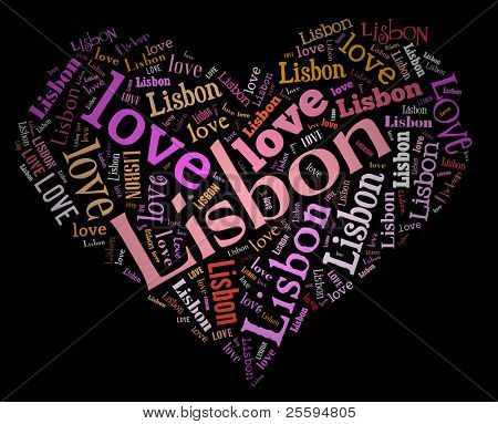 Wordcloud: love heart of city Lisbon