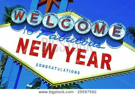 Las Vegas-style sign with sentence welcome to fabulous new year written in it