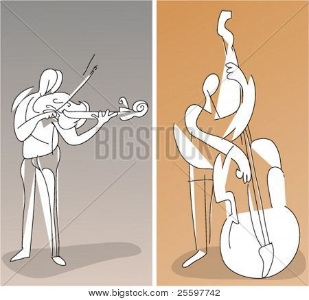 two cubistic musicians playing contrabass and violin