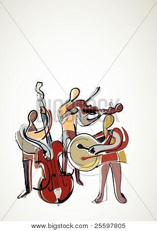 retro abstract musicians