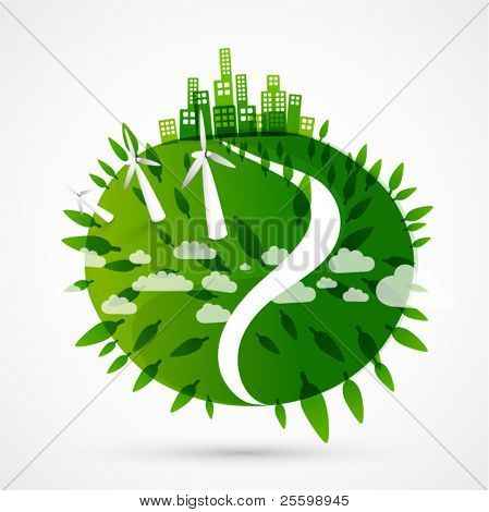 abstract green world illustration - ecology / wind turbines concept