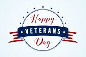 Happy Veterans Day - American Flag Ribbon With Lettering Happy Veterans Day. Veterans Day Retro Post poster