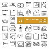 Home Appliance Thin Line Icon Set, Household Symbols Collection, Vector Sketches, Logo Illustrations poster