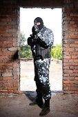picture of terrorist  - Photos of heavy equiped soldiers or terrorists in black masks with automatic guns - JPG