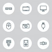 Device Icons Set With Usb Cable, 3d Glasses, Cursor Mouse And Other Control Device Elements. Isolate poster