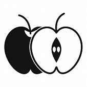 The Whole Apple And Half Icon. Simple Illustration Of The Whole Apple And Half Icon For Web poster