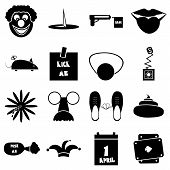 April Fools Day Icons Set. Simple Illustration Of 16 April Fools Day Icons For Web poster