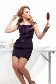 foto of nea  - Portrait of beutiful woman standing nea table in restaurant - JPG