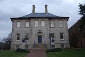 stock photo of 1700s  - Historic 1700s Colonial America House built for the John Carlyle family in Alexandria Virginia - JPG