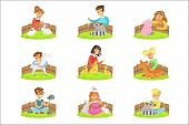 Children Petting The Small Animals In Petting Zoo Set Of Cartoon Illustrations With Kids Having Fun poster