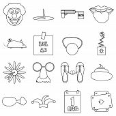 April Fools Day Icons Set. Outline Illustration Of 16 April Fools Day Icons For Web poster