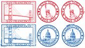 USA famous cities stamps with symbols: New York (Statue of Liberty), San Francisco (Golden Gate), Wa