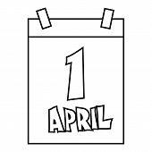 April 1, April Fools Day Calendar Icon. Outline Illustration Of April Fools Day Calendar Icon For We poster