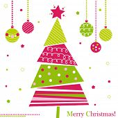 Christmas tree with ornaments, xmas card