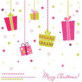 Постер, плакат: Вектор подарочные коробки Рождественская открытка